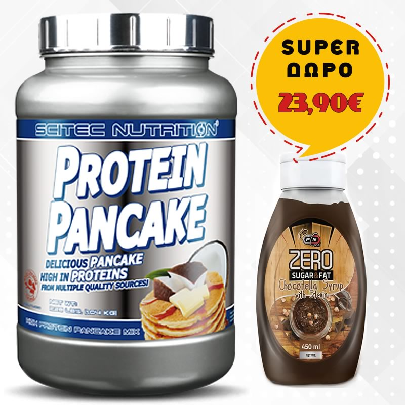SCITEC NUTRITION PROTEIN PANCAKE 1035GR 28SERVS + ΔΩΡΟ PURE NUTRITION SYRUP 450ML STRAWBERRY