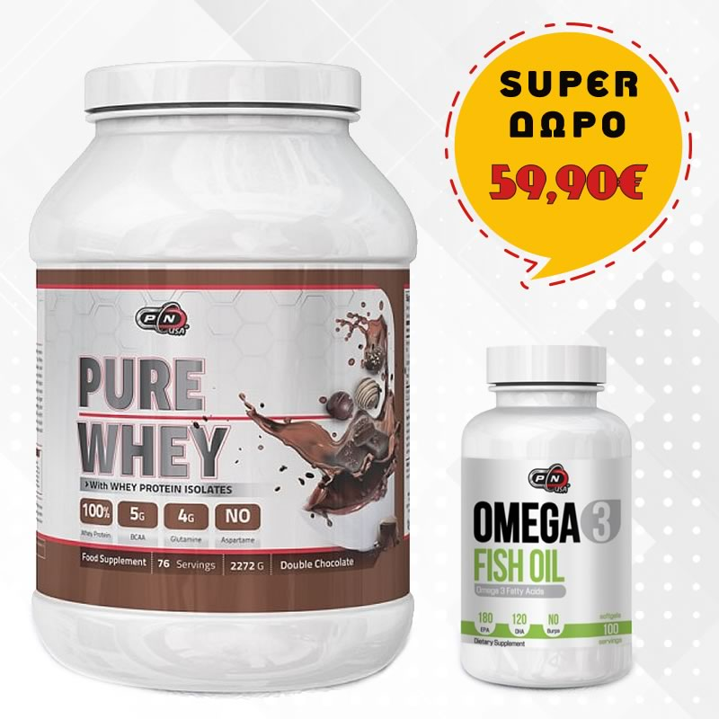 Pure Nutrition Pure Whey 2272gr + ΔΩΡΟ PURE NUTRITION OMEGA 3 FISH OIL 100SGELS