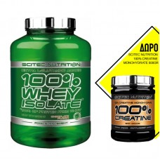 SCITEC NUTRITION 100% WHEY ISOLATE 2000GR + ΔΩΡΟ SCITEC NUTRITION 100% CREATINE MONOHYDRATE 500GR