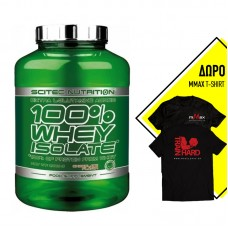 SCITEC NUTRITION 100% WHEY ISOLATE 2000GR + ΔΩΡΟ T-SHIRT MMAX