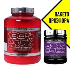 SCITEC NUTRITION 100% WHEY PROFESSIONAL 2350GR + ΔΩΡΟ BCAA 6400 125TABS