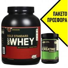 OPTIMUM NUTRITION 100% WHEY GOLD STANDARD + ΔΩΡΟ CREATINE 300GR OPTIMUM NUTRITION