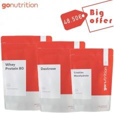 GONUTRITION WHEY PROTEIN 80 2.5KG + DEXTROSE 1000GR + CREATINE MONOHYDRATE 500GR