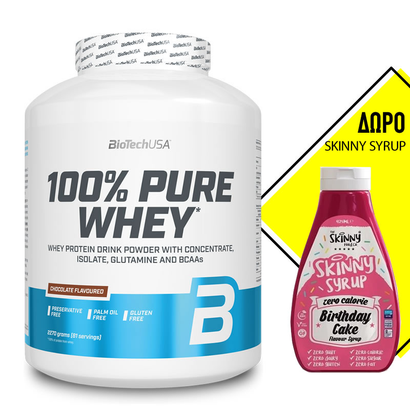 BIOTECH USA 100% PURE WHEY 2270GR + ΔΩΡΟ THE SKINNY FOOD CO SKINNY SYRUP 425ML