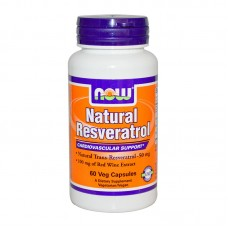 NOW FOODS NATURAL RESVERATROL WITH RED WINE EXTRACT ,GREEN TEA AND GRAPE SEED 50MG 60VCAPS